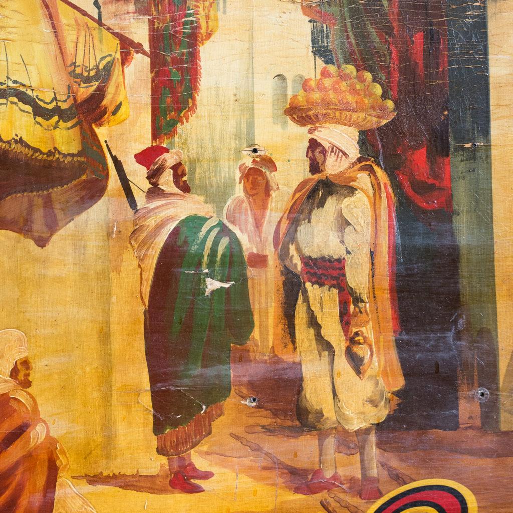 Pair of English mid-twentieth century painted fairground panels,-136975