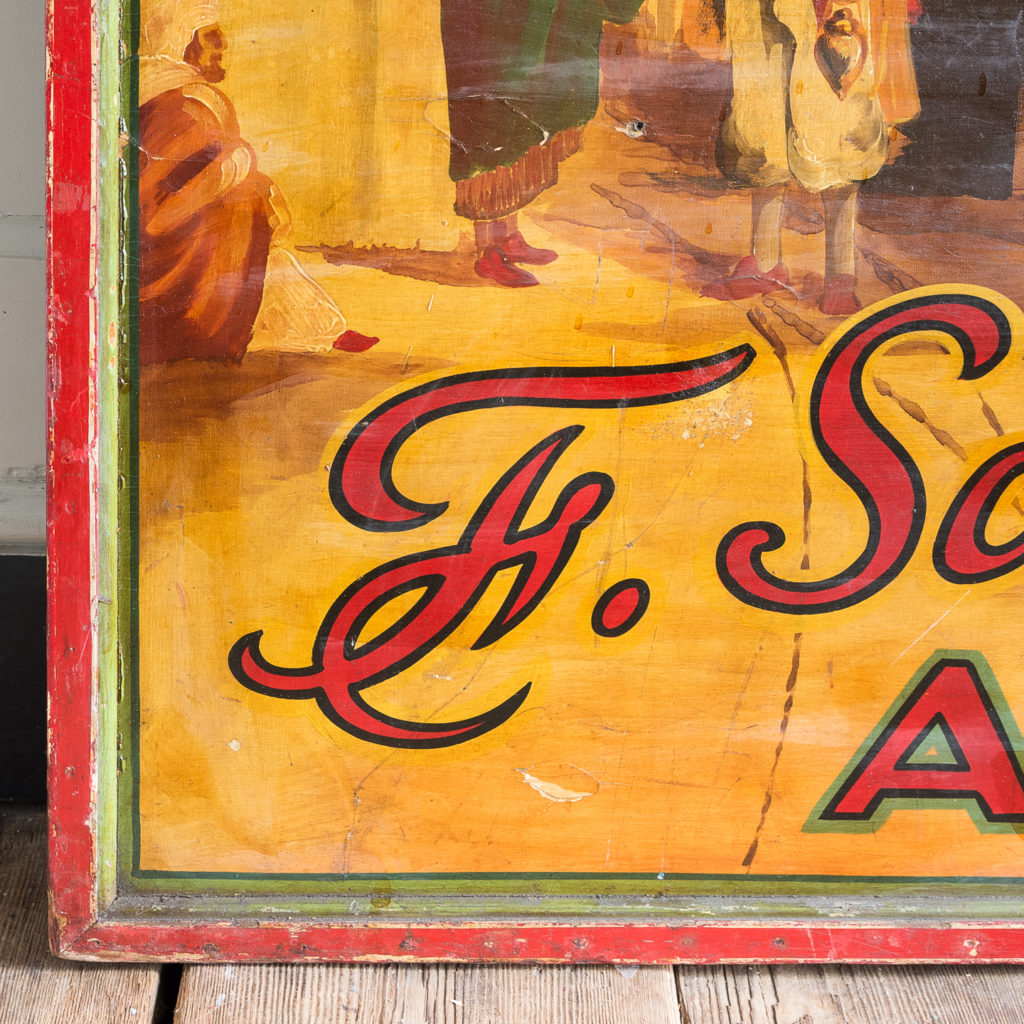 Pair of English mid-twentieth century painted fairground panels,-136976