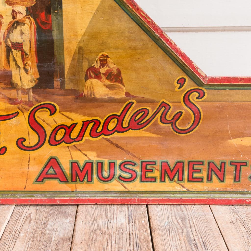 Pair of English mid-twentieth century painted fairground panels,-136977