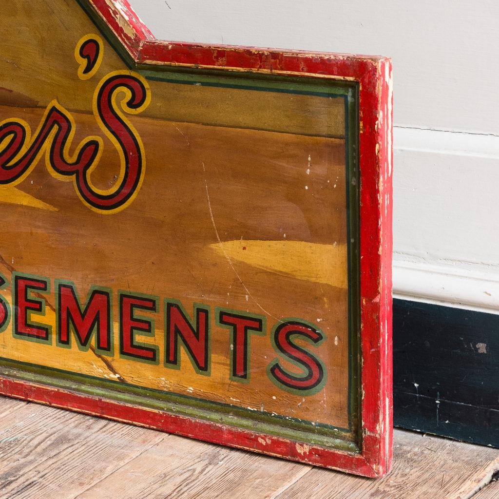 Pair of English mid-twentieth century painted fairground panels,-136978