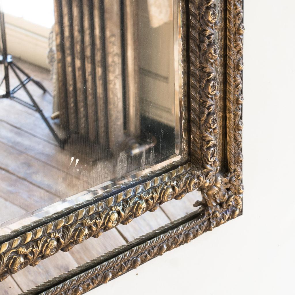 Napoleon III repoussé cushion mirror, -137064