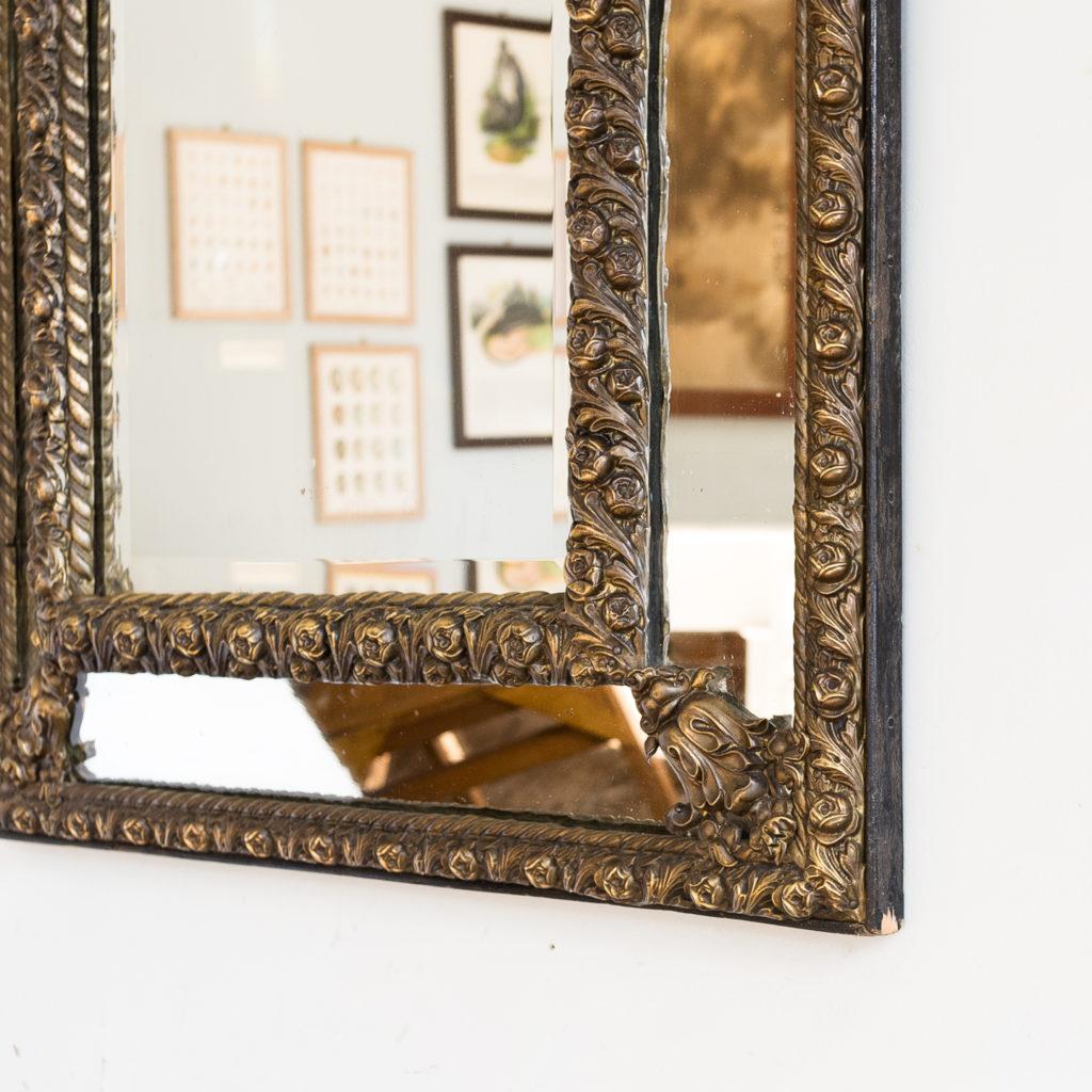 Napoleon III repoussé cushion mirror, -137056