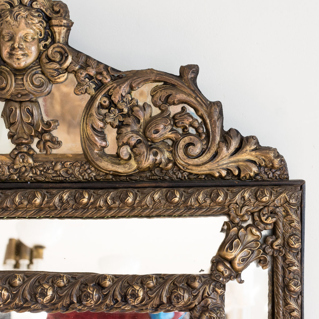 Napoleon III repoussé cushion mirror, -137060