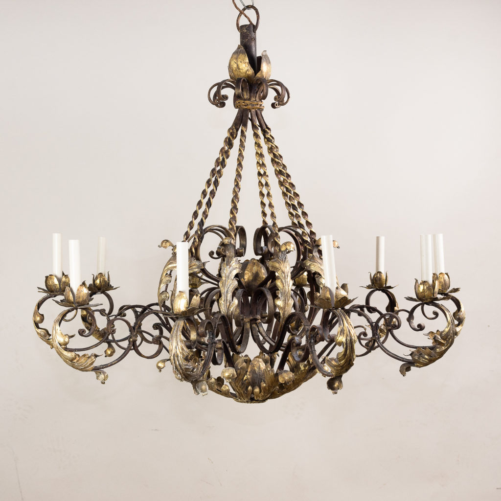 Substantial French 1940s parcel-gilt wrought iron chandelier,