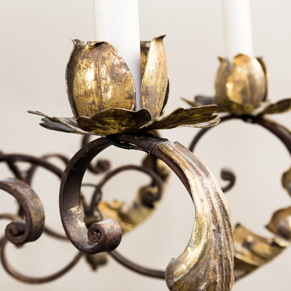 Substantial French 1940s parcel-gilt wrought iron chandelier, -136931