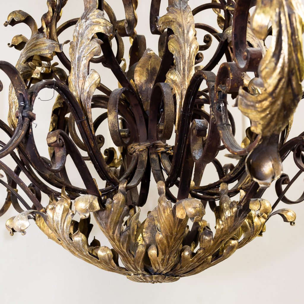Substantial French 1940s parcel-gilt wrought iron chandelier, -136930