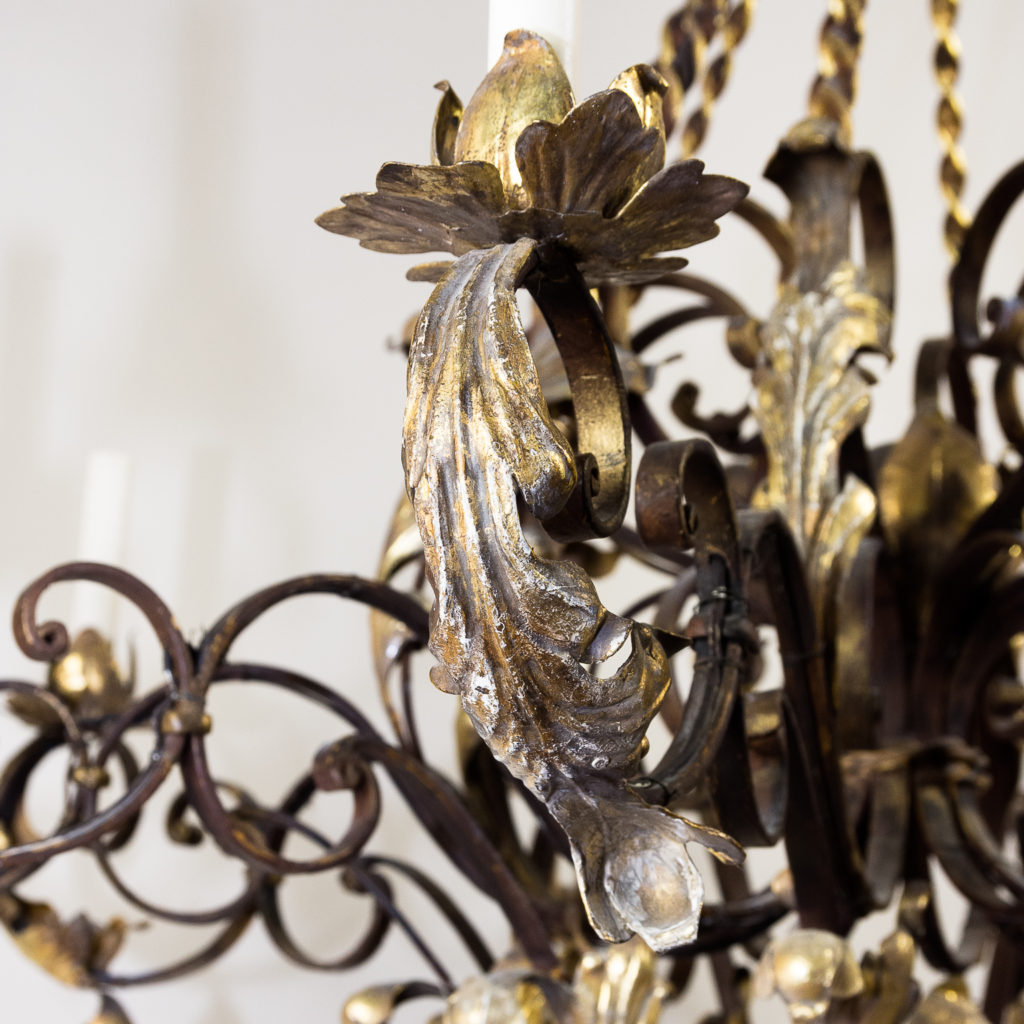 Substantial French 1940s parcel-gilt wrought iron chandelier, -136932