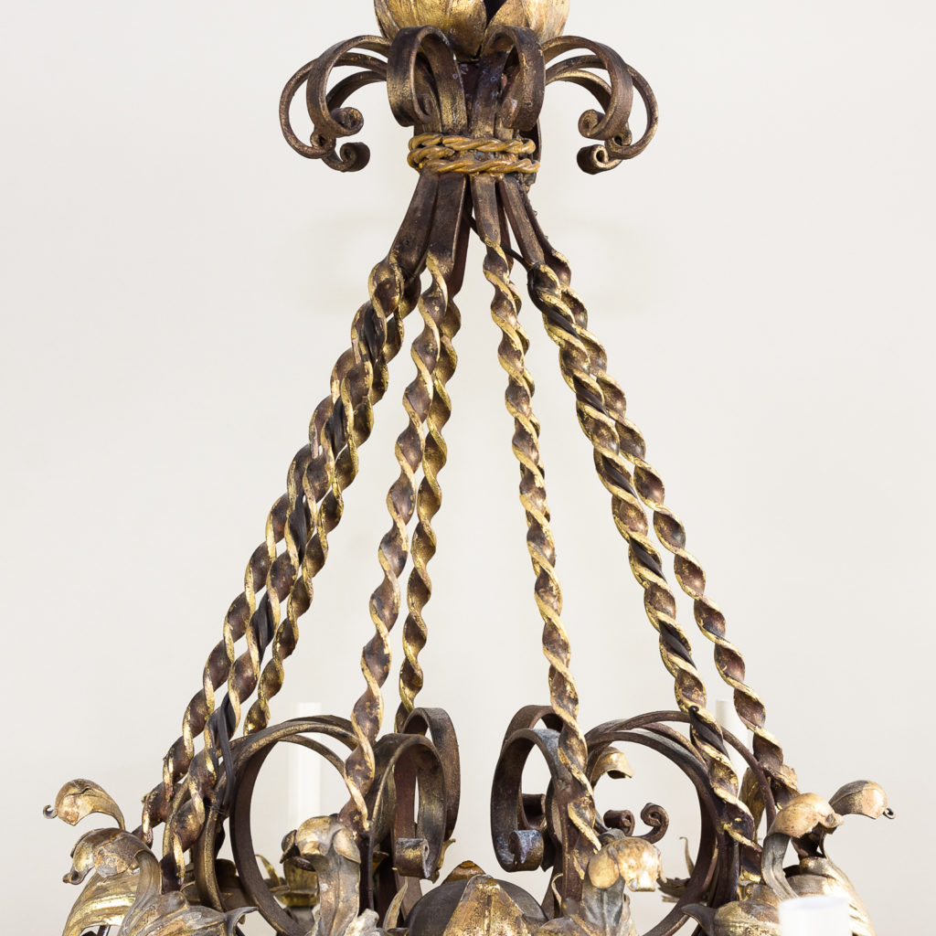 Substantial French 1940s parcel-gilt wrought iron chandelier, -136935