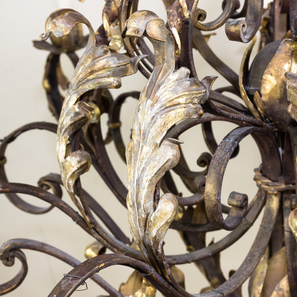 Substantial French 1940s parcel-gilt wrought iron chandelier, -136934