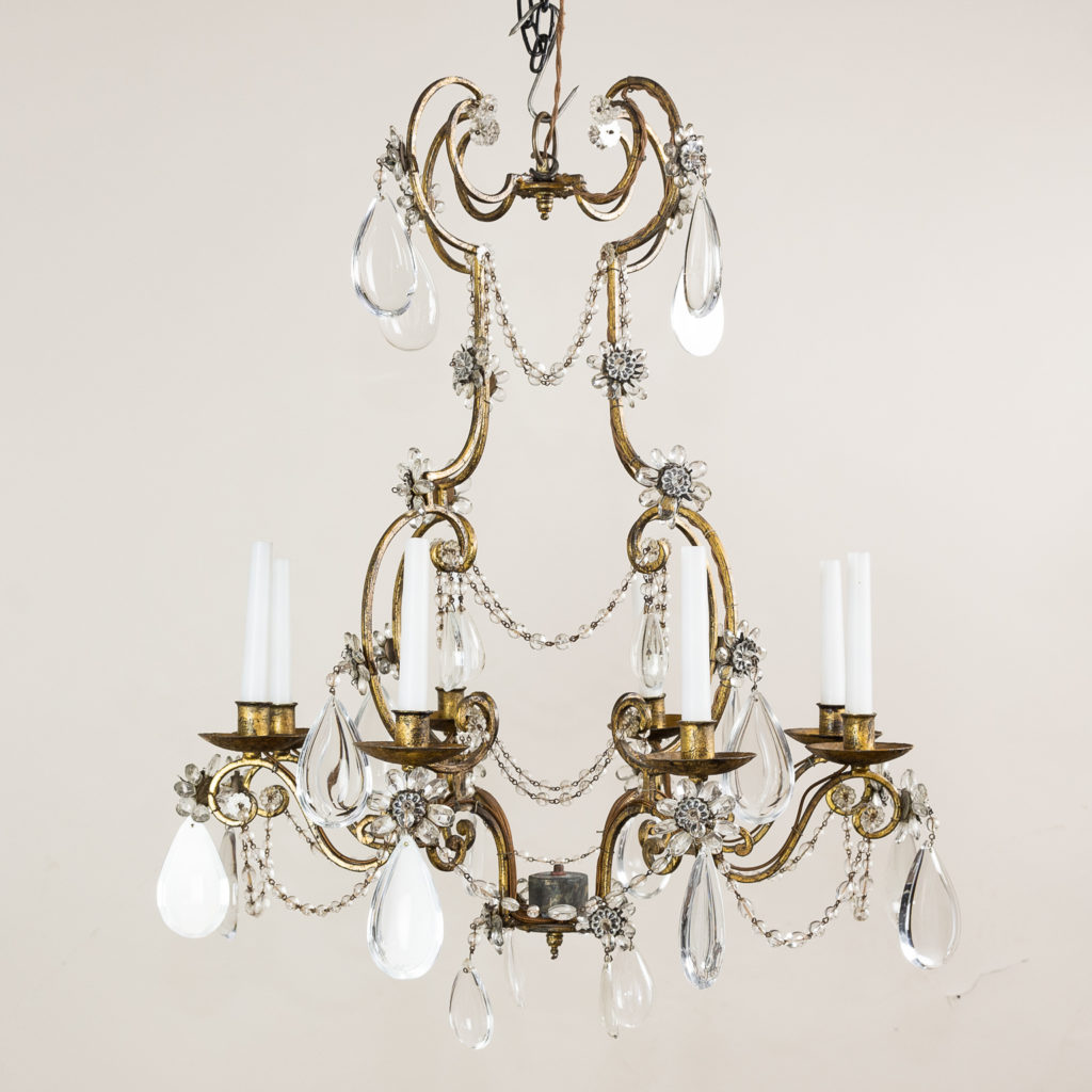 Twentieth century French gilt-metal eight light chandelier,