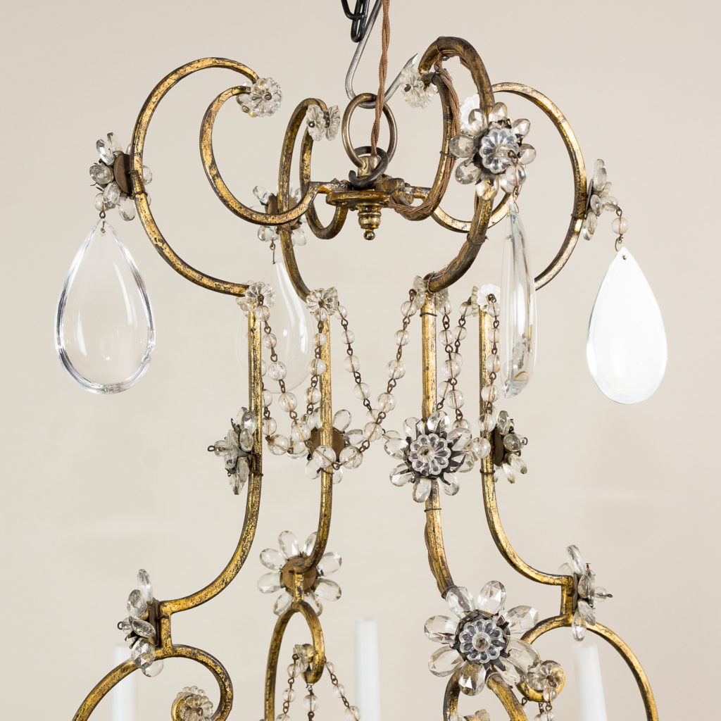 Twentieth century French gilt-metal eight light chandelier, -136939