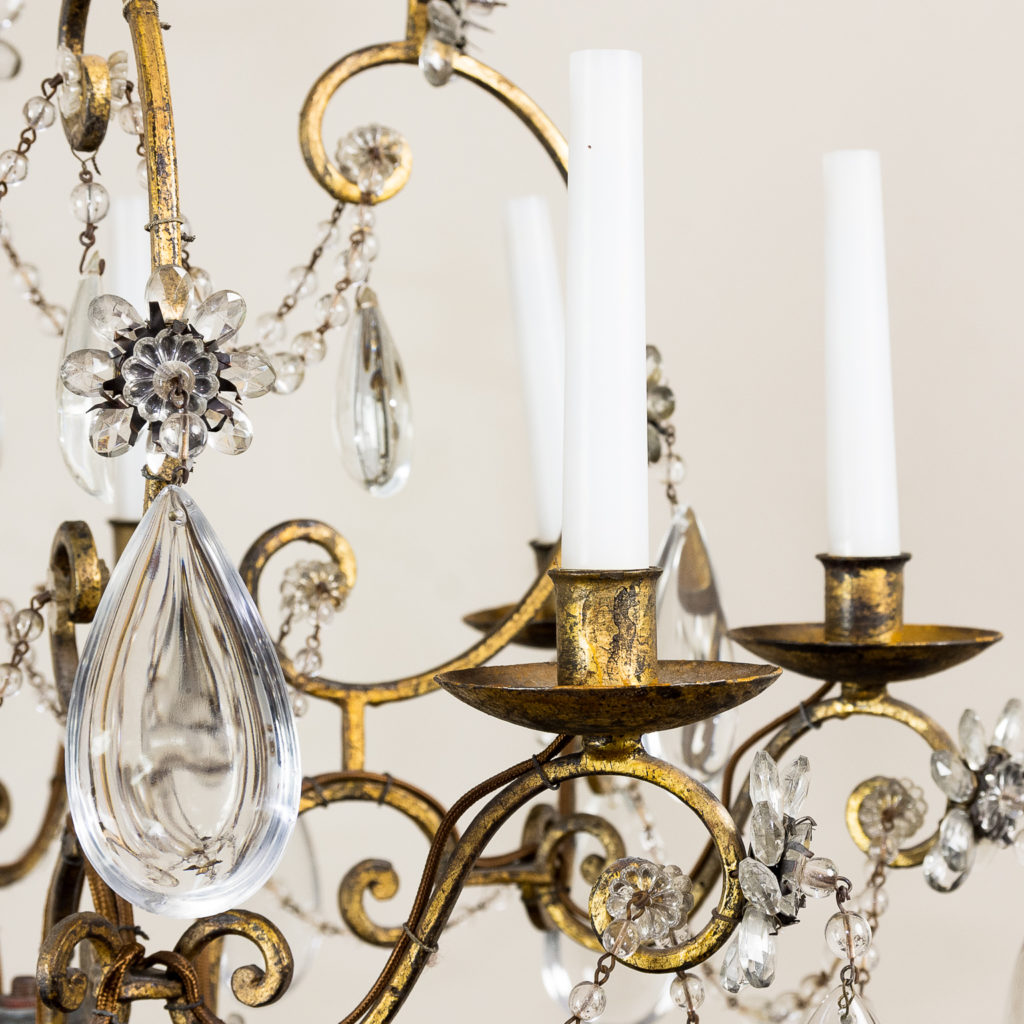 Twentieth century French gilt-metal eight light chandelier, -136941