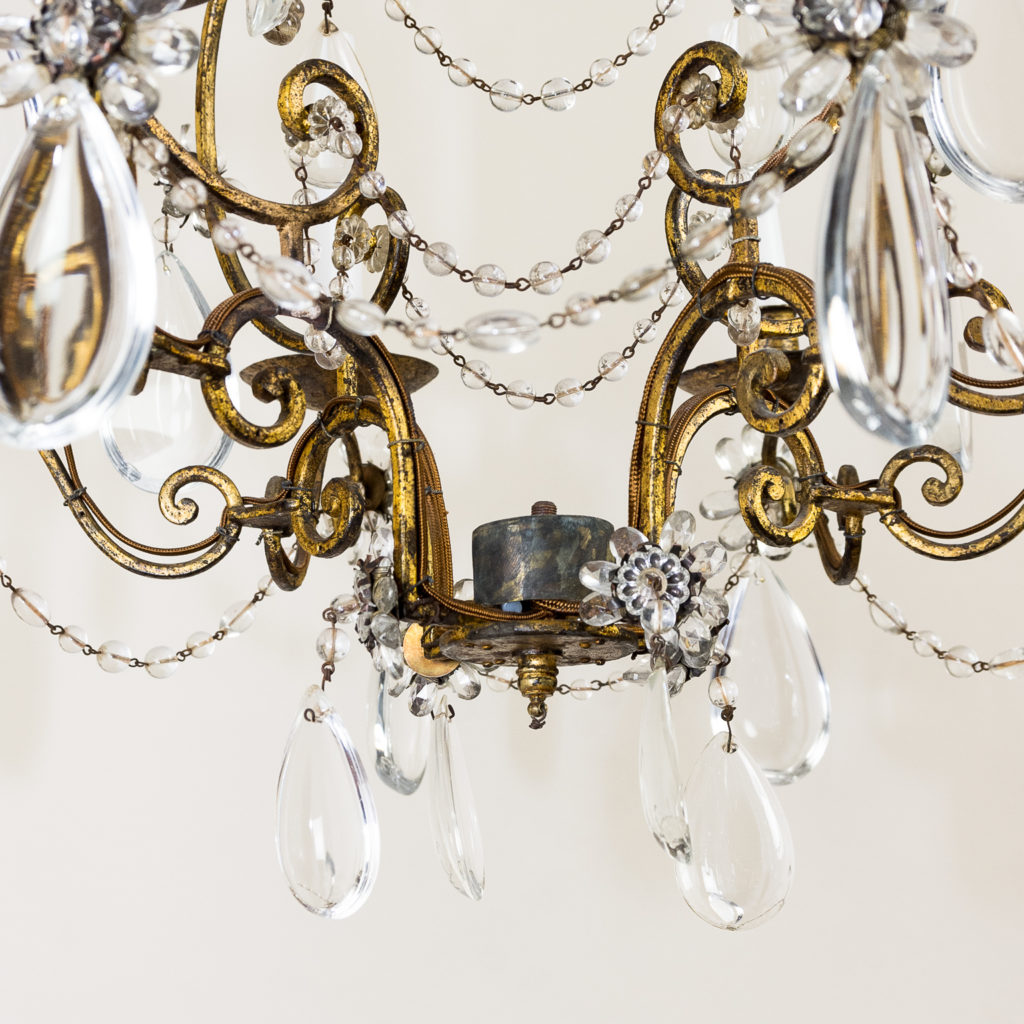 Twentieth century French gilt-metal eight light chandelier, -136944