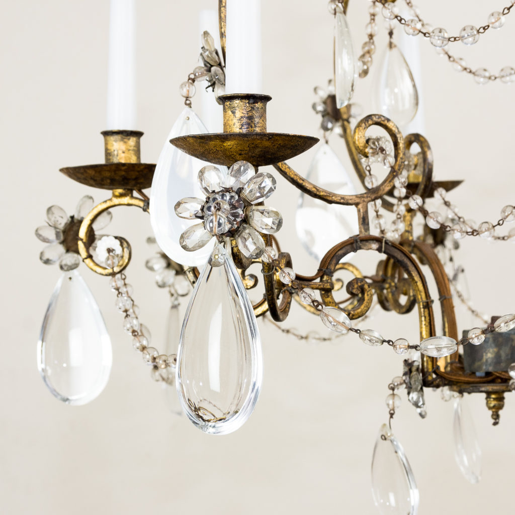 Twentieth century French gilt-metal eight light chandelier, -136943