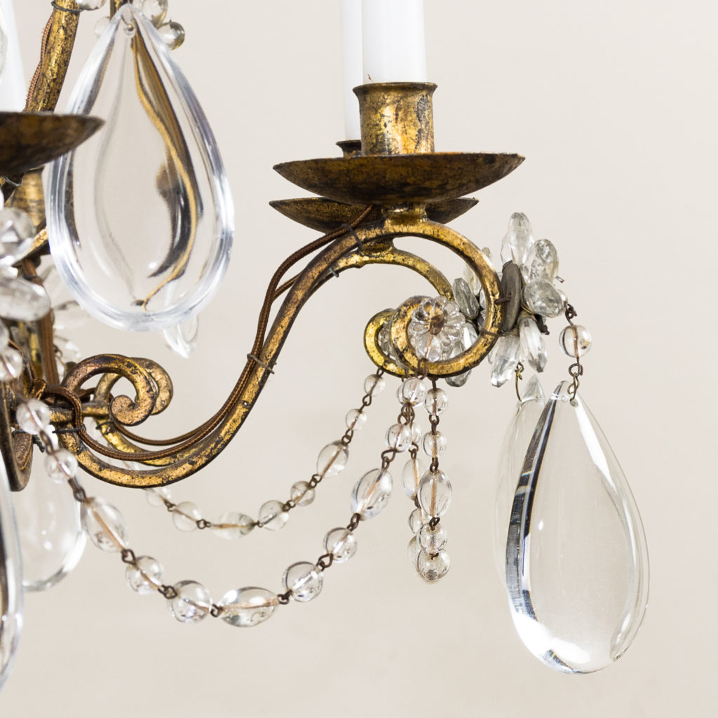 Twentieth century French gilt-metal eight light chandelier, -136945