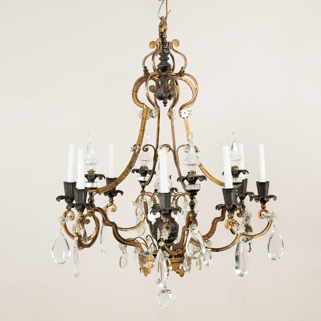 Early twentieth century French parcel-gilt metal chandelier,