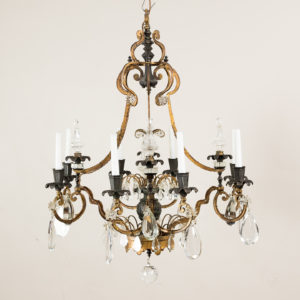 Early twentieth century French parcel-gilt metal chandelier,