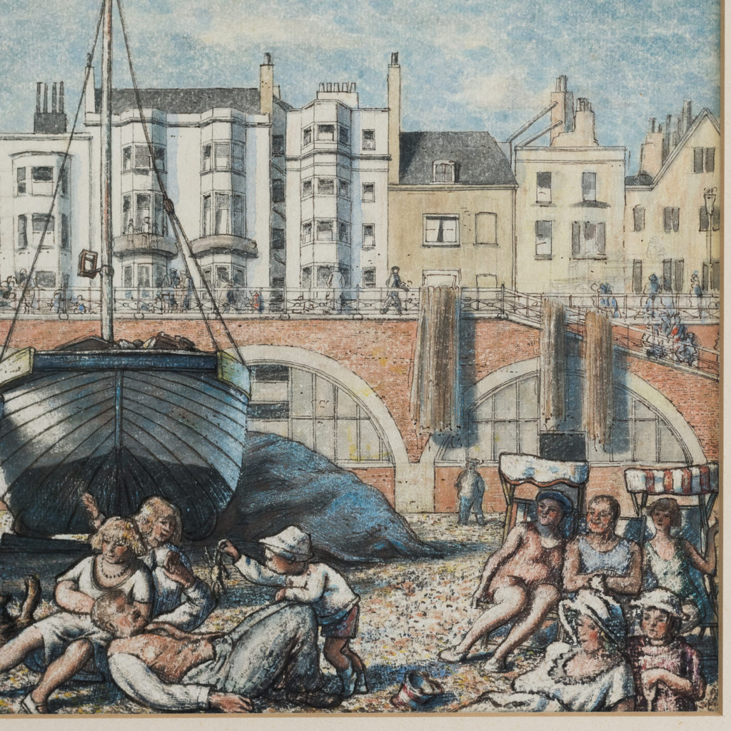 Pair of watercolour and ink paintings of Brighton Beach by George Charlton-136530