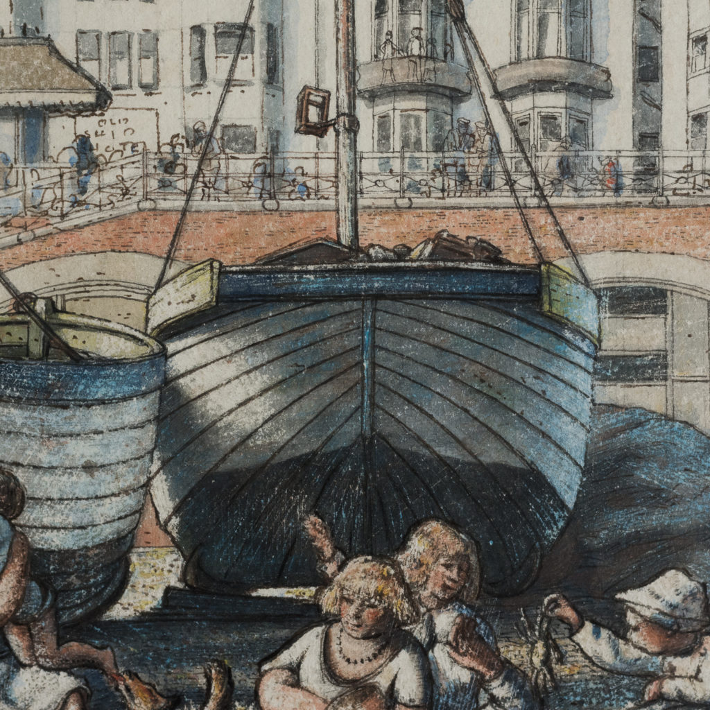 Pair of watercolour and ink paintings of Brighton Beach by George Charlton-136531