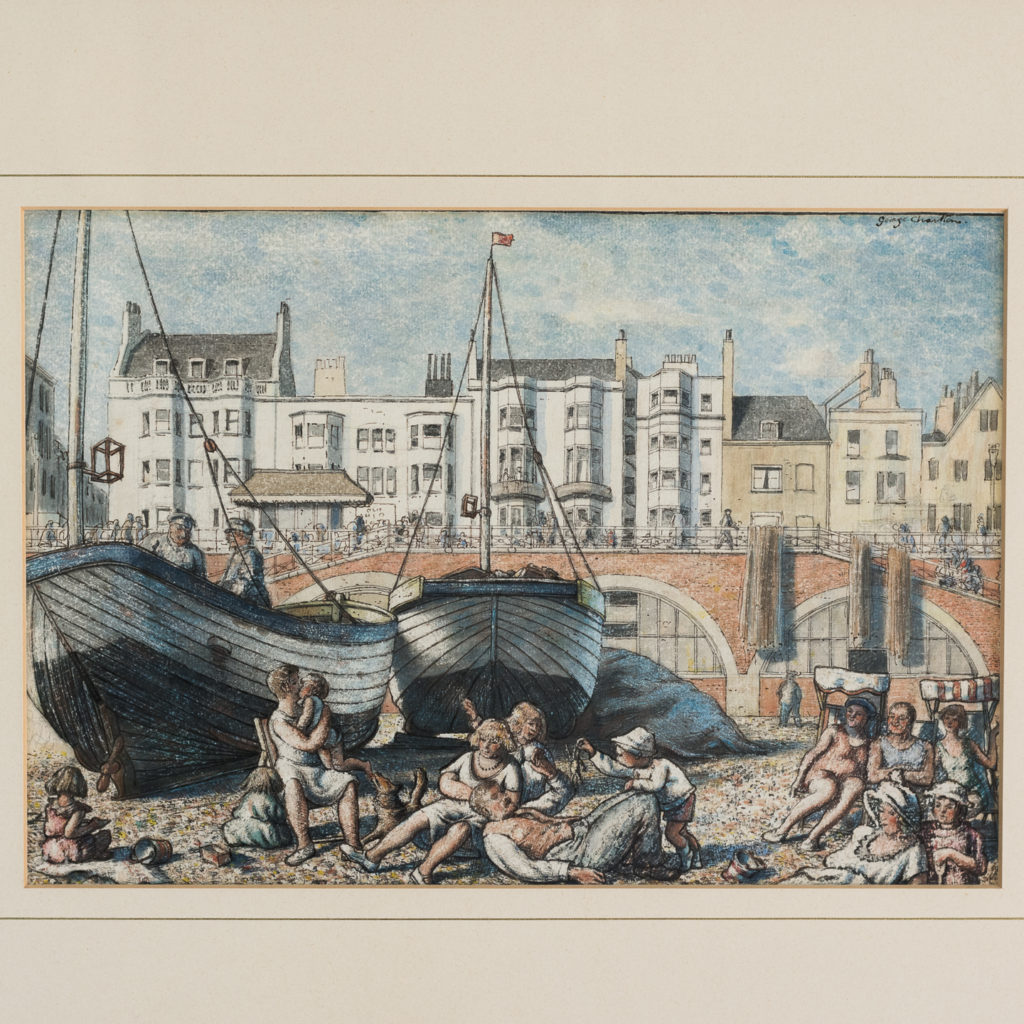 Pair of watercolour and ink paintings of Brighton Beach by George Charlton-136529