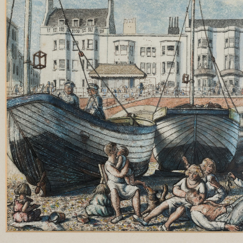 Pair of watercolour and ink paintings of Brighton Beach by George Charlton-136528