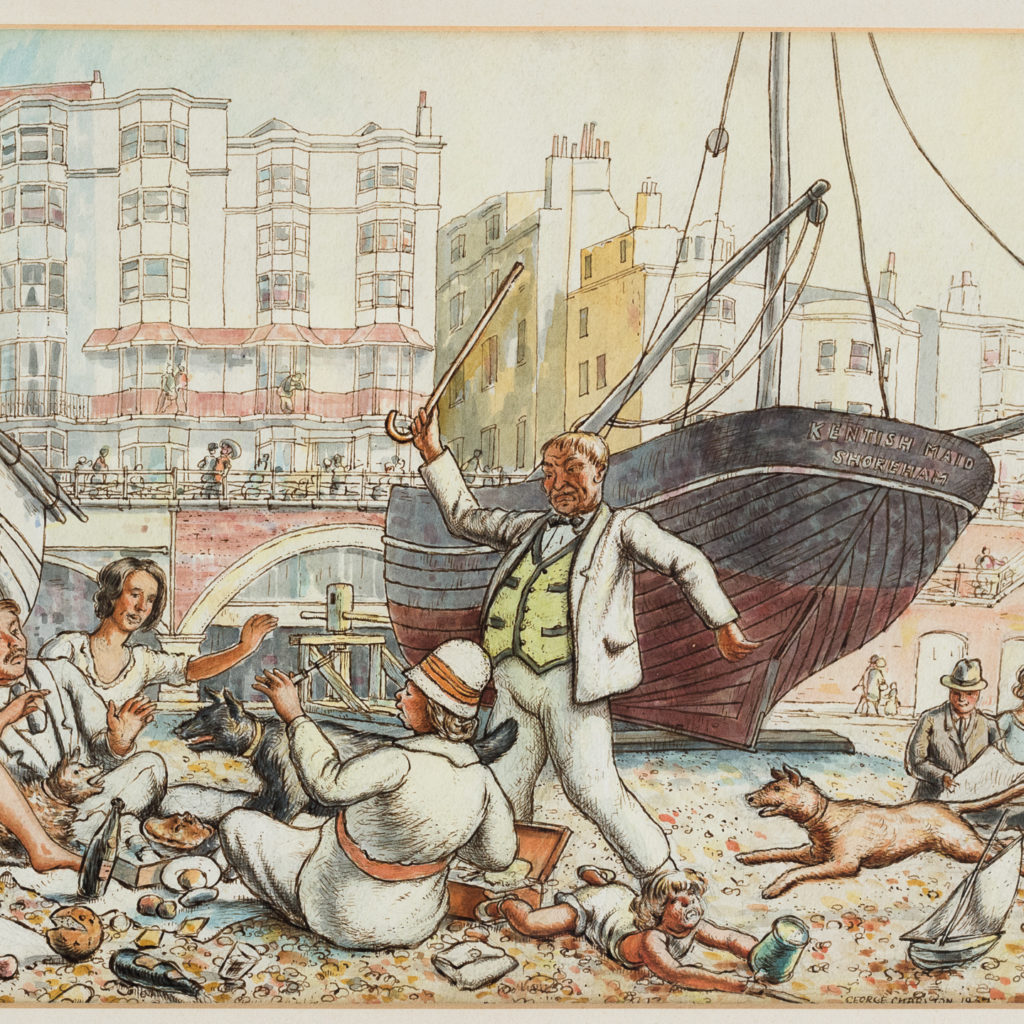 Pair of watercolour and ink paintings of Brighton Beach by George Charlton-136536
