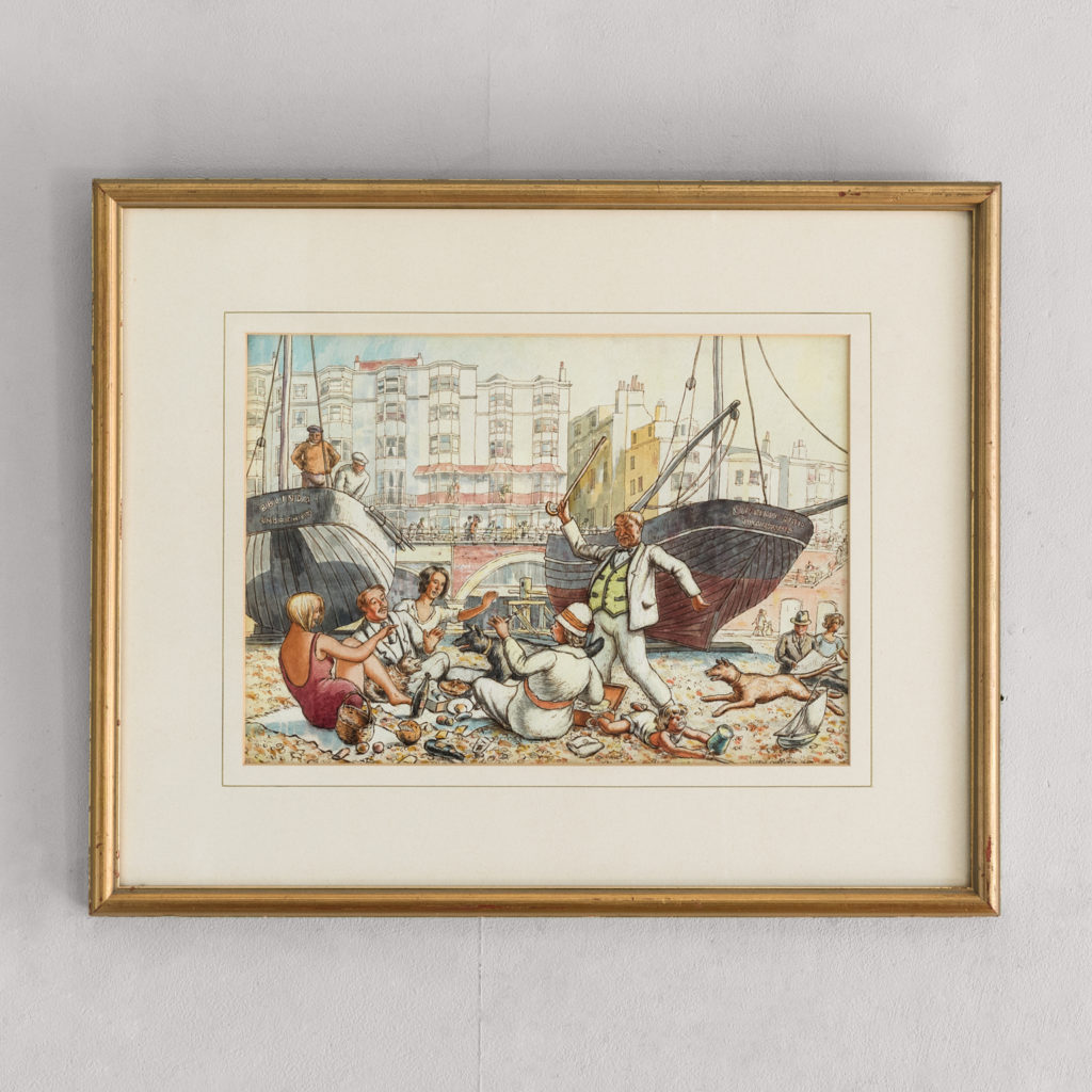 Pair of watercolour and ink paintings of Brighton Beach by George Charlton
