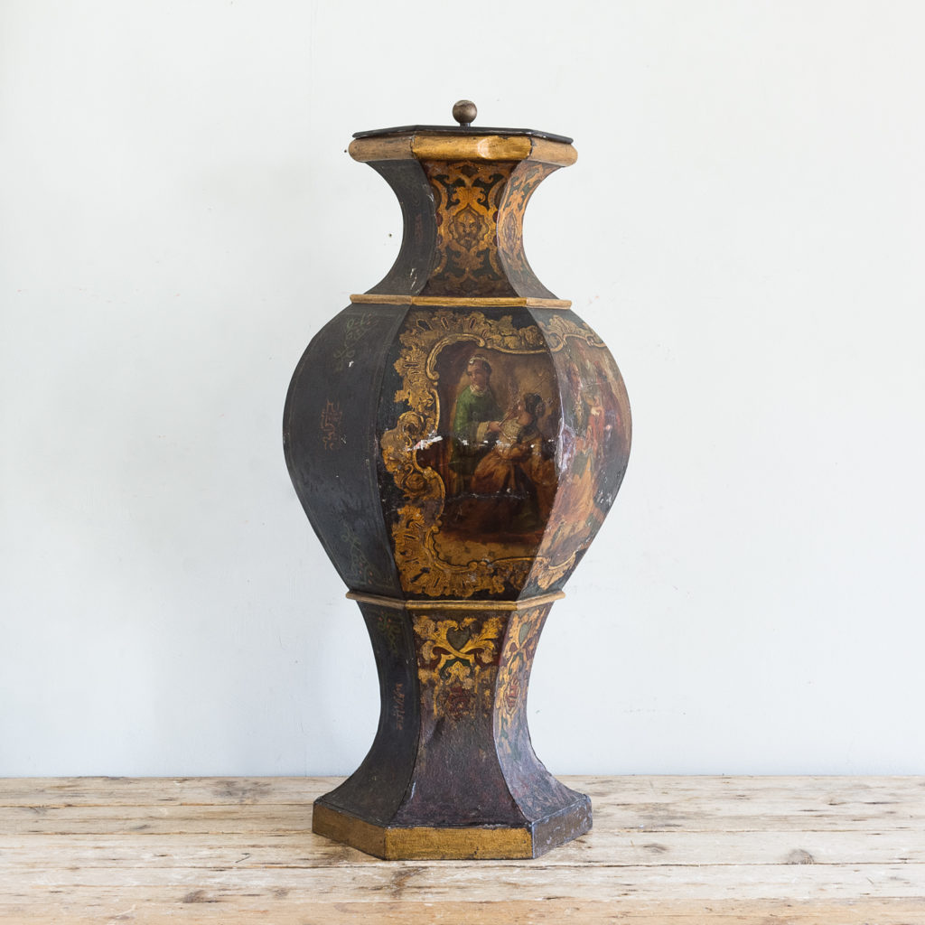 Large Victorian toleware tea canister,