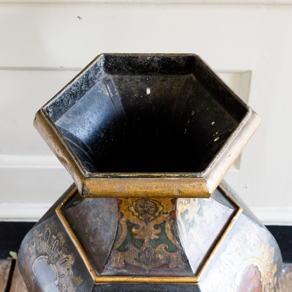 Large Victorian toleware tea canister,-137353
