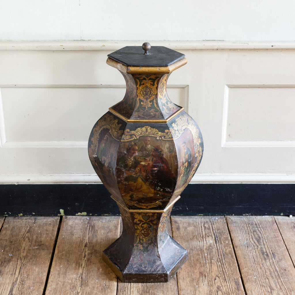 Large Victorian toleware tea canister,-137354