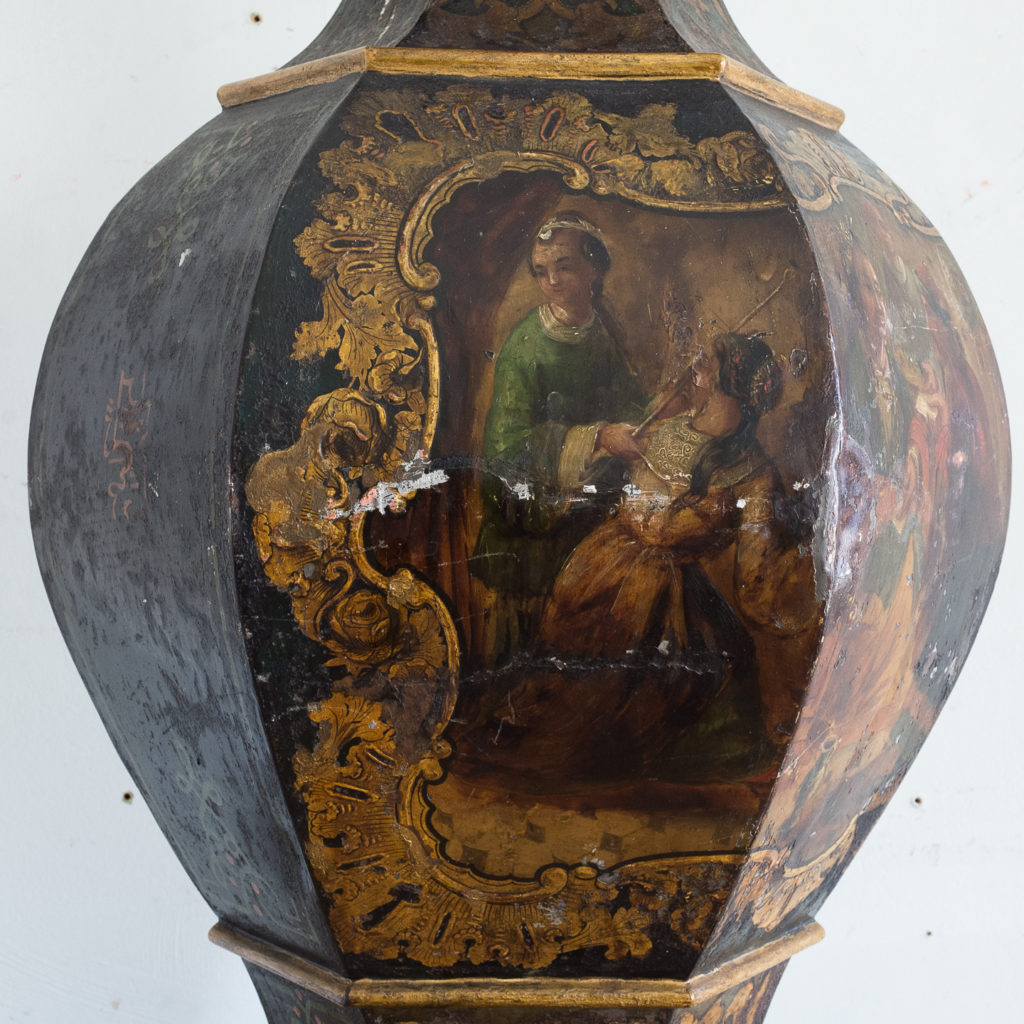 Large Victorian toleware tea canister,-137335
