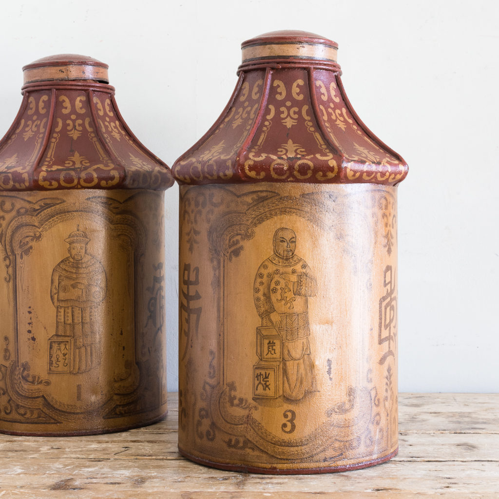 Pair of toleware tea canisters, -137318