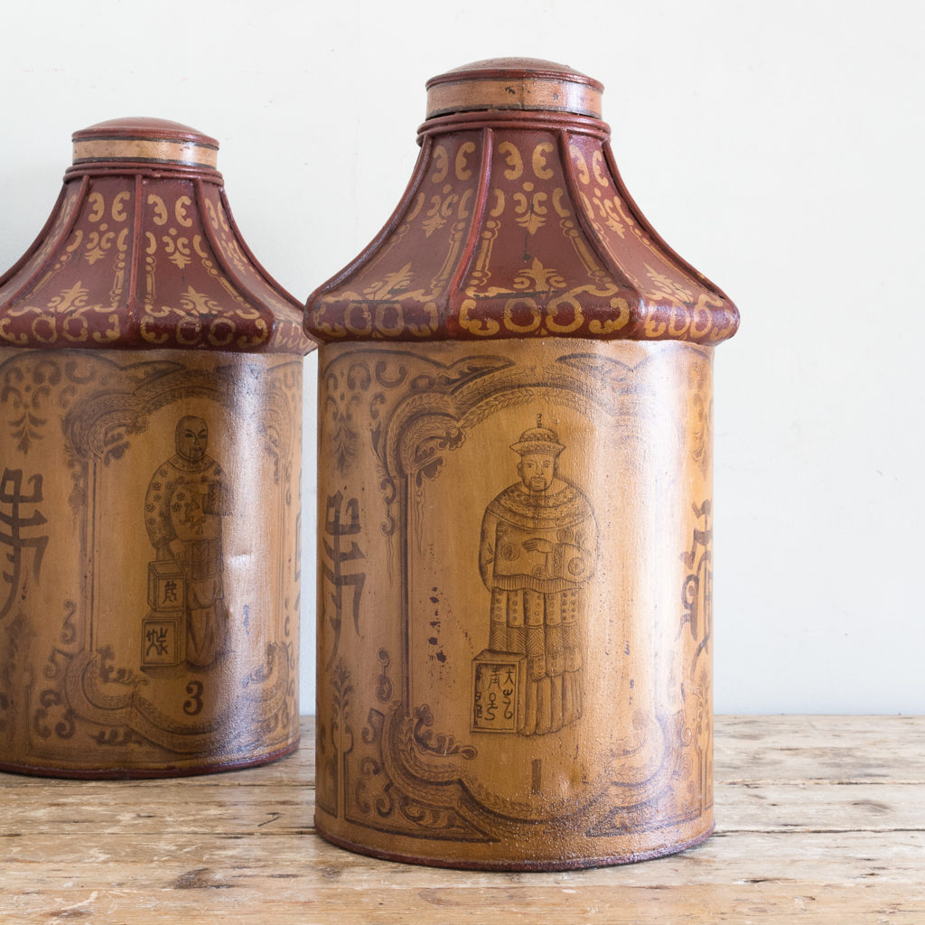 Pair of toleware tea canisters, -137322