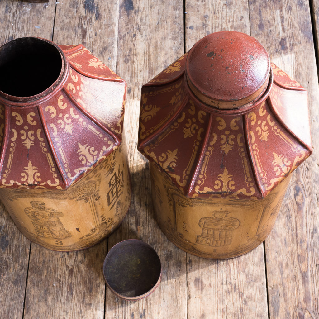 Pair of toleware tea canisters, -137325