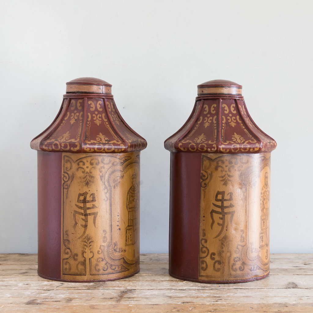 Pair of toleware tea canisters, in the nineteenth century style