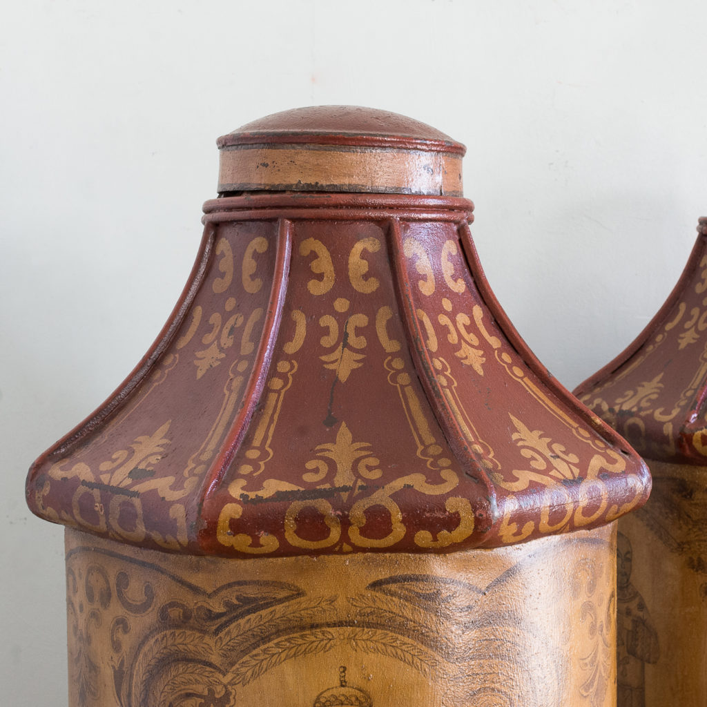 Pair of toleware tea canisters, -137311