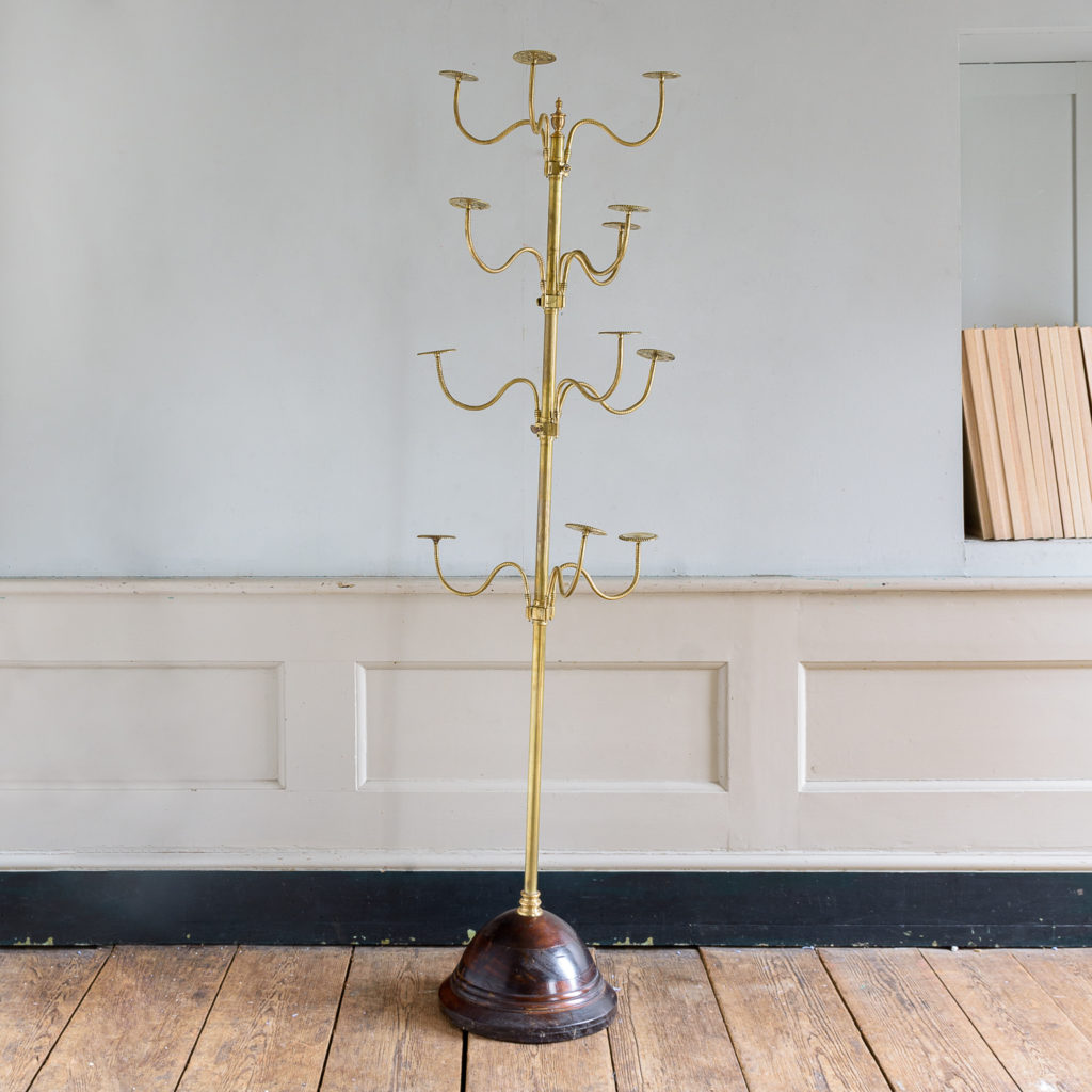 Edwardian brass and mahogany shop-display hat stand,