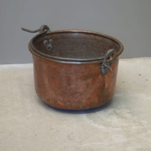 A planished copper and wrought iron cooking pot-0