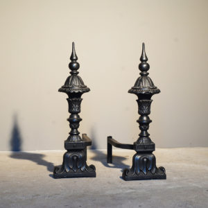 A pair of English cast iron andirons-0