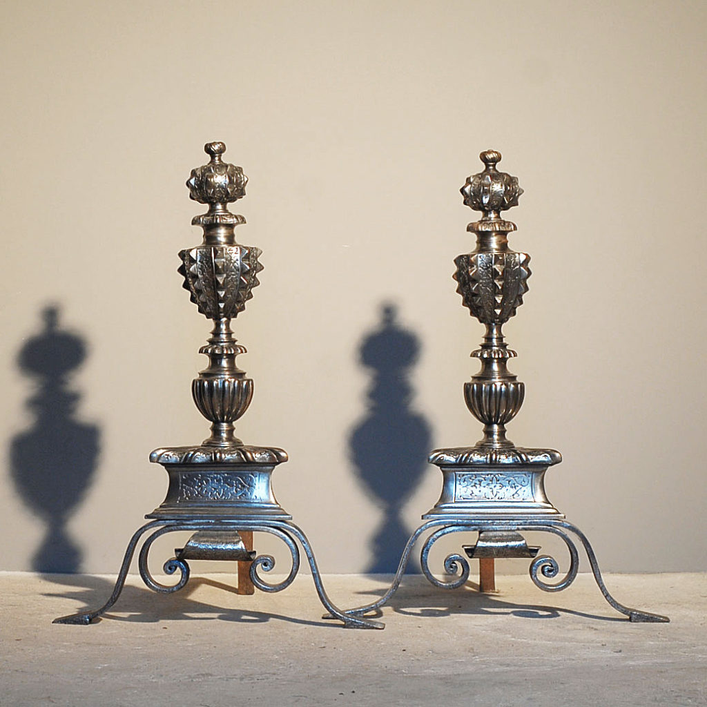 A good pair of English steel and wrought iron andirons-0