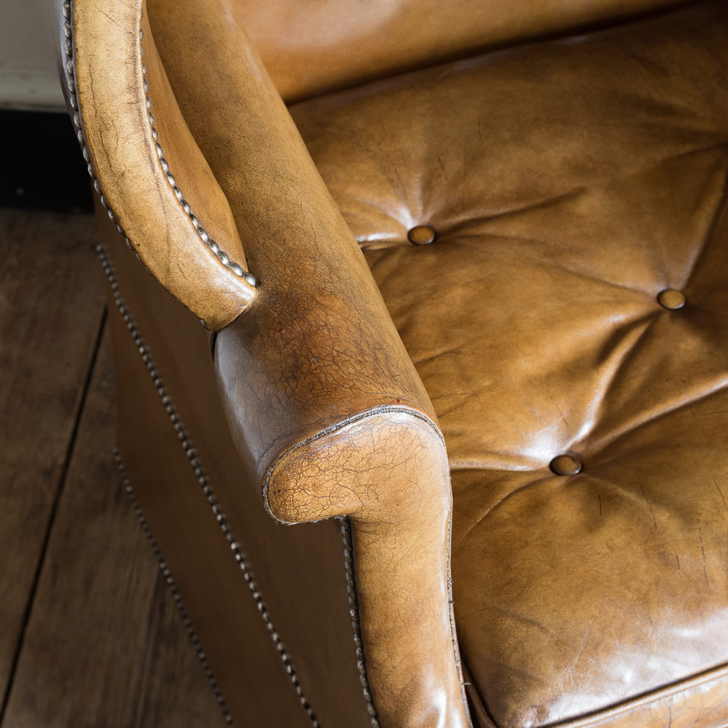 Tan leather upholstered porter's chair,-137915