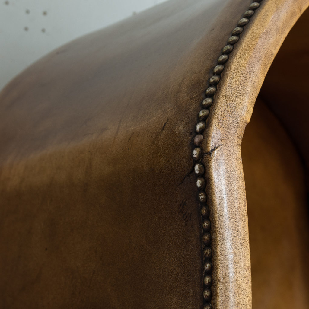 Tan leather upholstered porter's chair,-137917