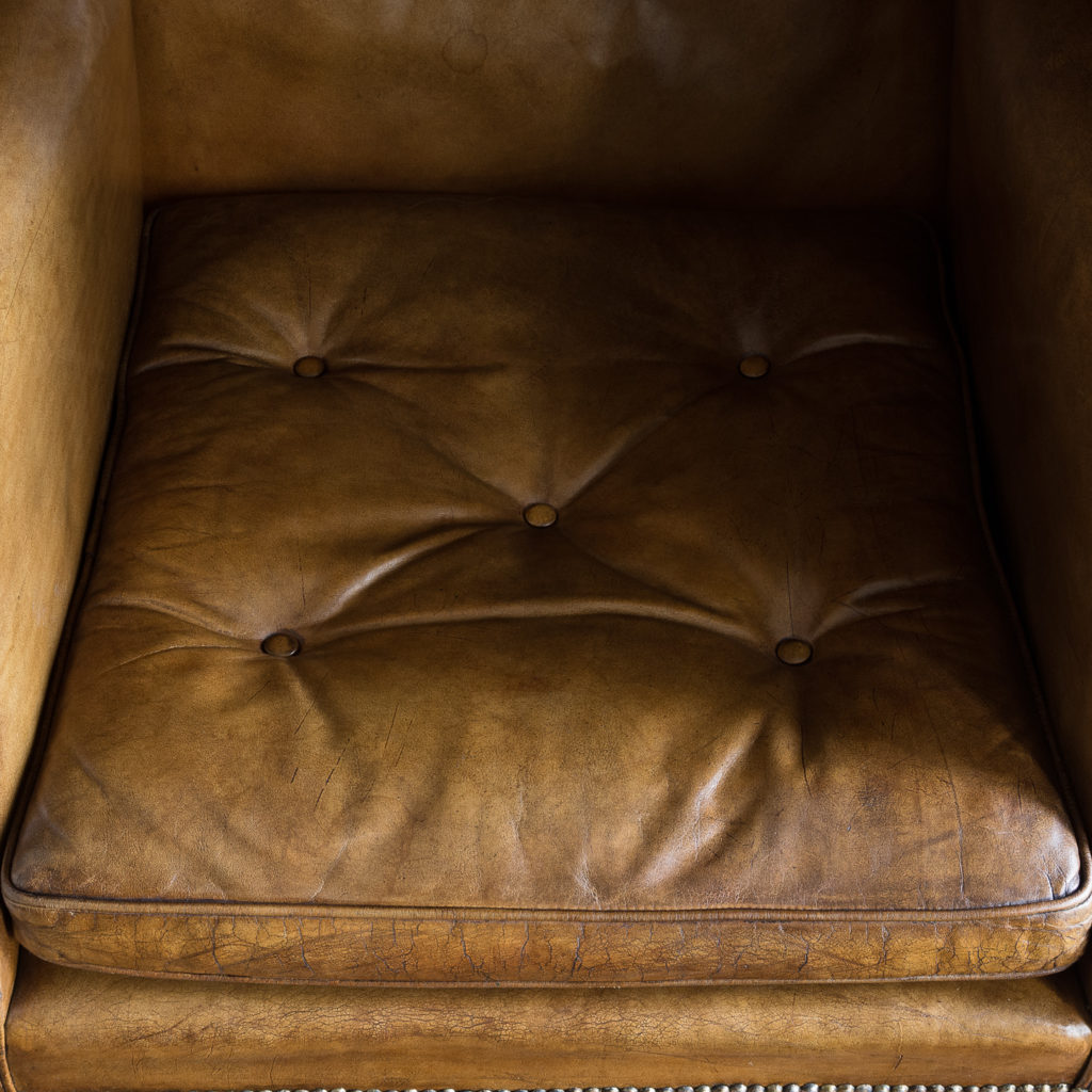 Tan leather upholstered porter's chair,-137918