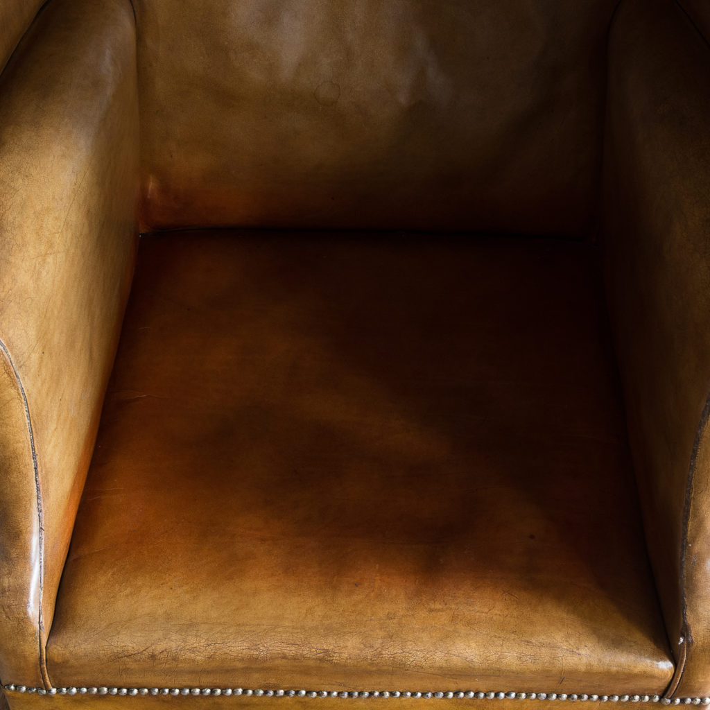 Tan leather upholstered porter's chair,-137919