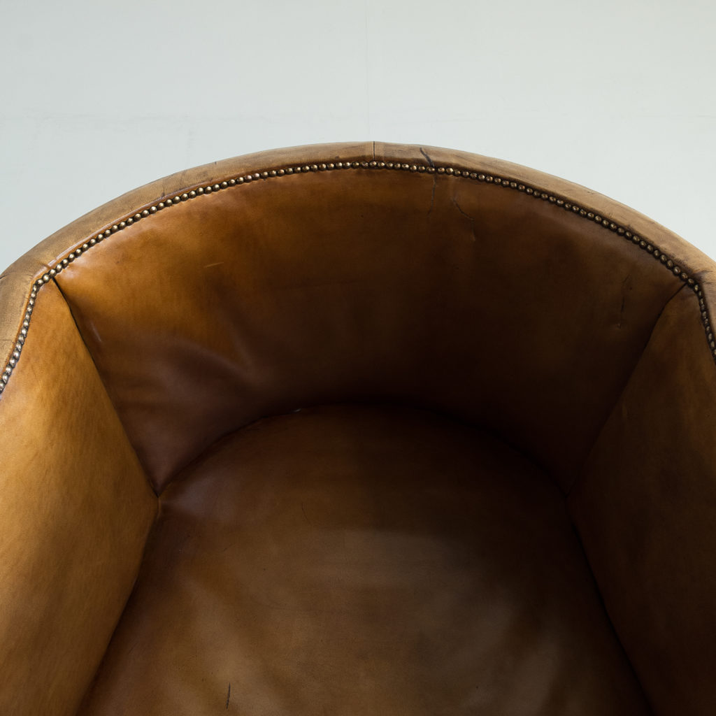 Tan leather upholstered porter's chair,-137922