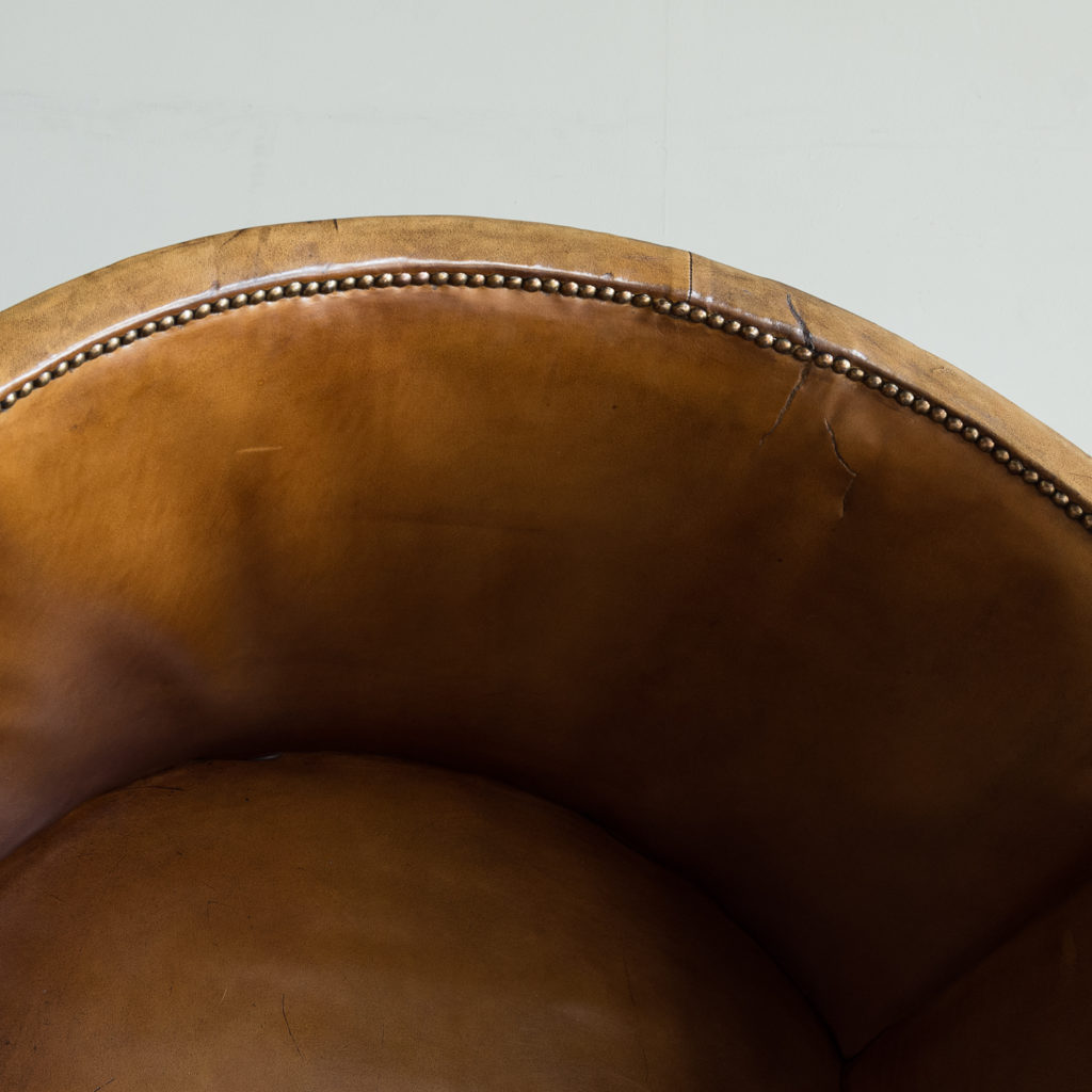Tan leather upholstered porter's chair,-137923
