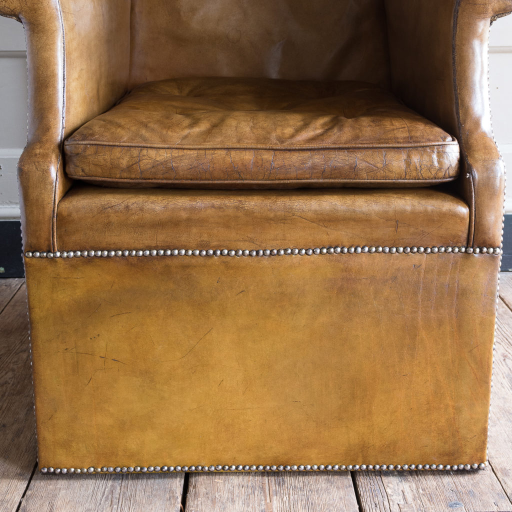 Tan leather upholstered porter's chair,-137911