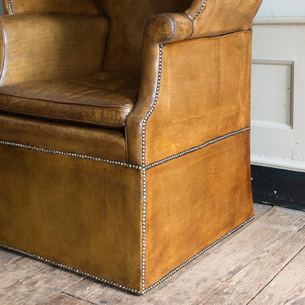 Tan leather upholstered porter's chair,-137912