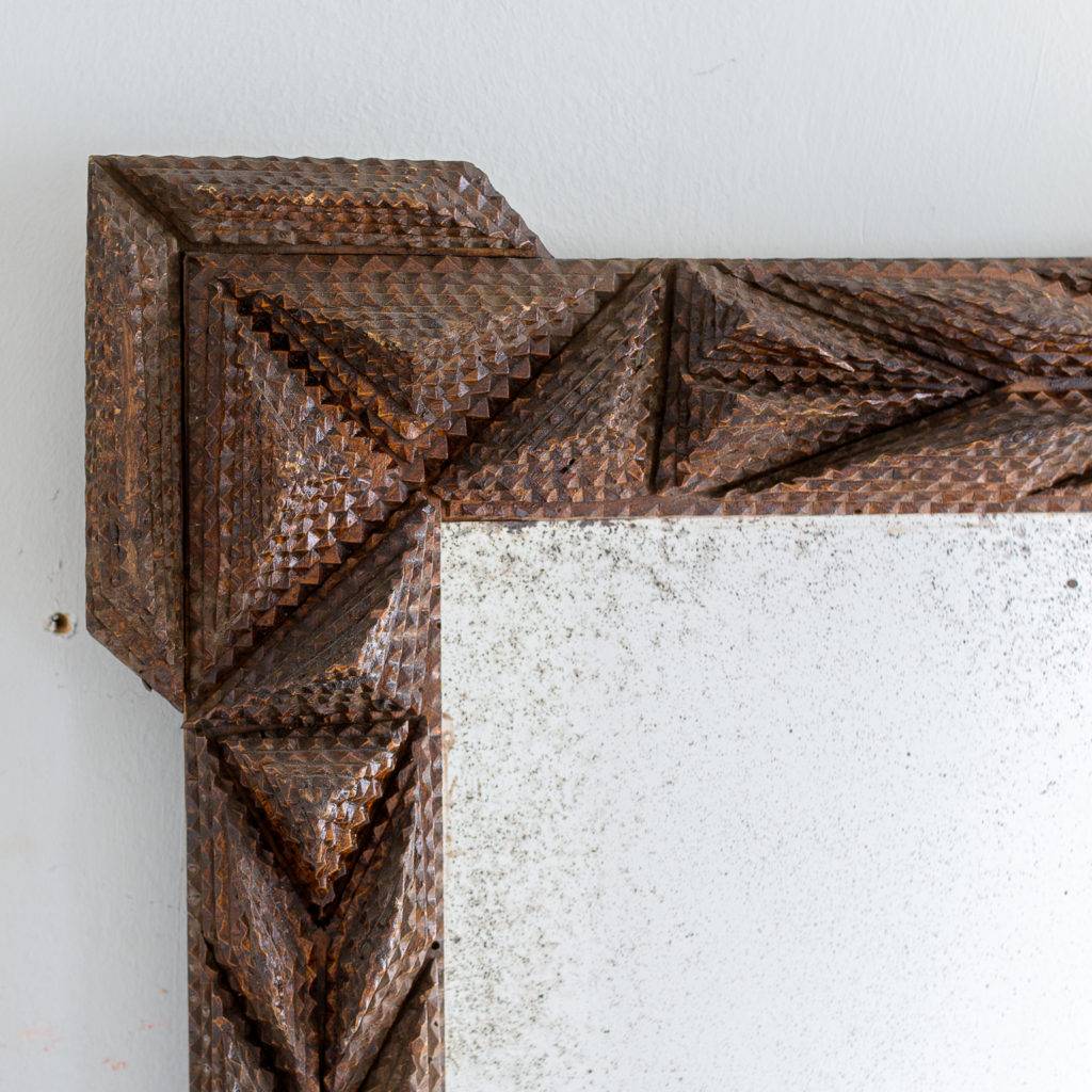 French carved 'tramp-art' wall mirror, -137663