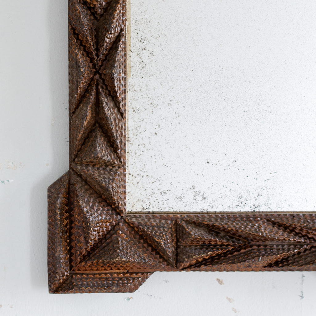 French carved 'tramp-art' wall mirror, -137661